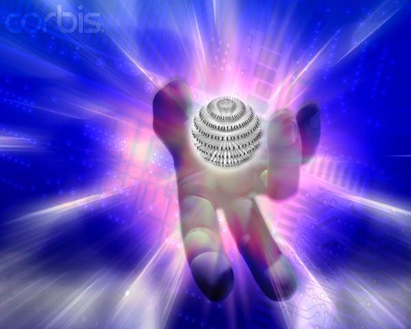 Hand Holding Binary Globe --- Image by © Michael Agliolo/Corbis
